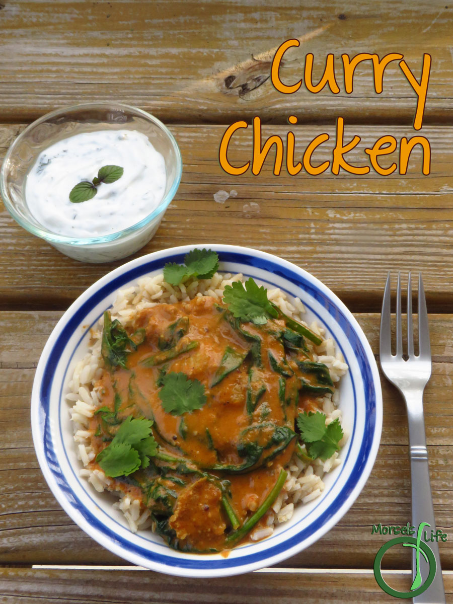 Morsels of Life - Curry Chicken - Coconut milk, simmered into a complex curry with tomatoes, then served with seared chicken over brown rice for one scrumptious curry chicken.