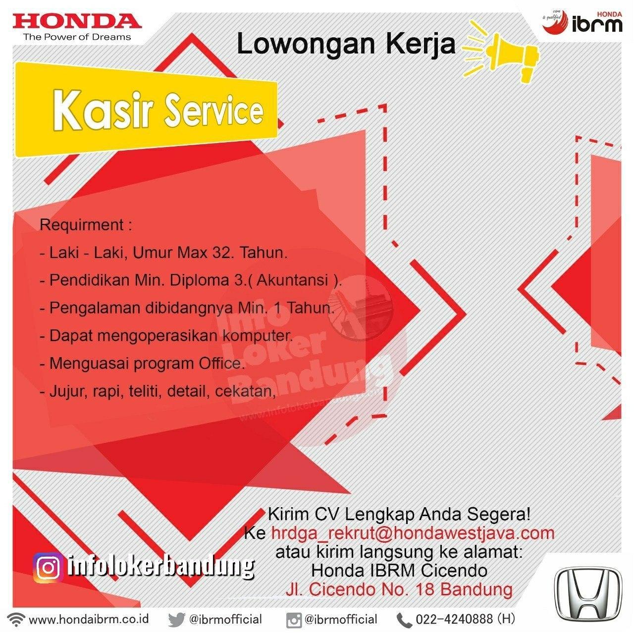 Lowongan Kerja Kasir Service & Sales Consultant Honda IBRM Bandung Februari 2020