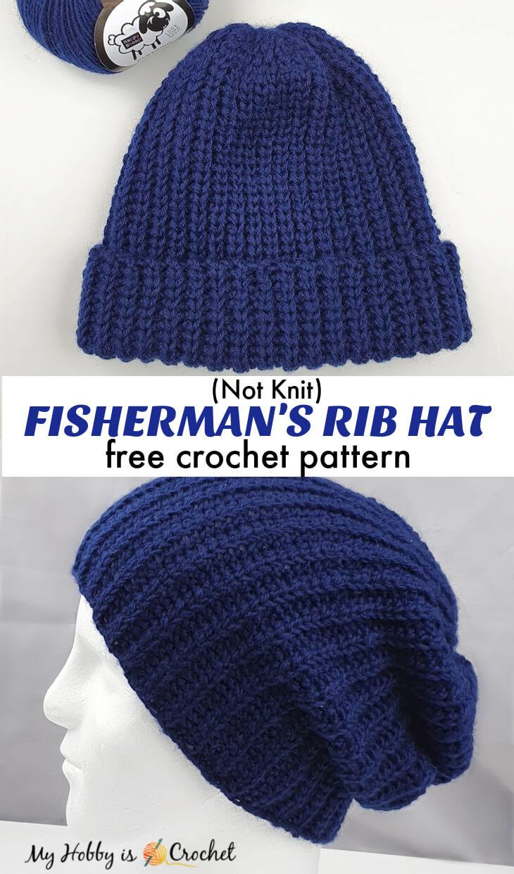 crochet ribbed hat, knit-look crochet Fisherman's rib hat