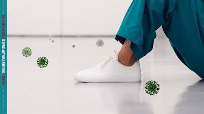 Pontos de estudo espalhados pelo coronavírus nos seus sapatos