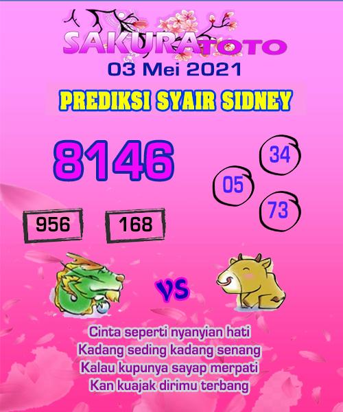 Syair Sakuratoto Sidney Senin 03 Mei 2021
