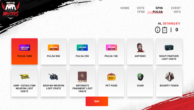 Event FFIM Web in-game Free Fire Hadiah Utama Kode Redem dan Vote Event