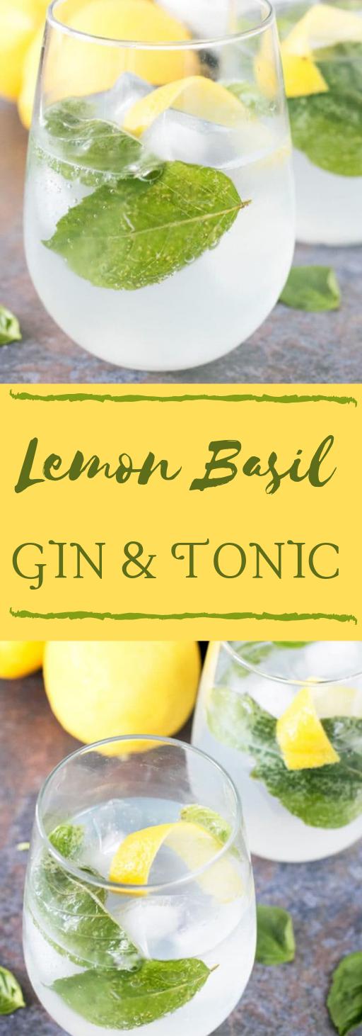 Lemon Basil Gin & Tonic #drink #cocktail #lemon #basil #recipes