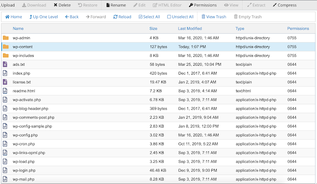 ملفات ومجلدات الموقع داخل مدير الملفات