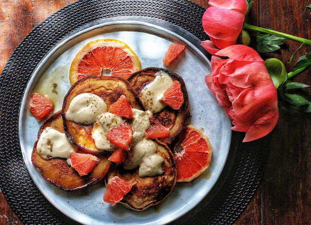 Grapefruit Mascarpone Pancakes with Maple Creme Fraîche