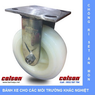 Bánh xe đẩy hàng Nylon càng bánh xe inox 304 | 4-8498-824 www.banhxepu.net