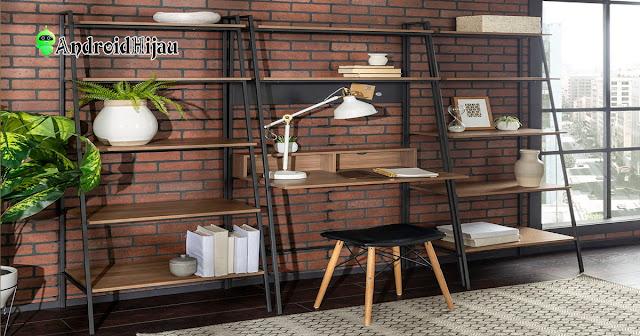 desain ruang kerja minimalis tema industrial