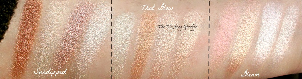 ABH glow kit in sundipped, that glow and gleam review and swatches comparison