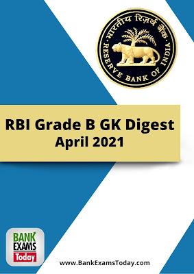 RBI Grade B GK Digest: April 2021