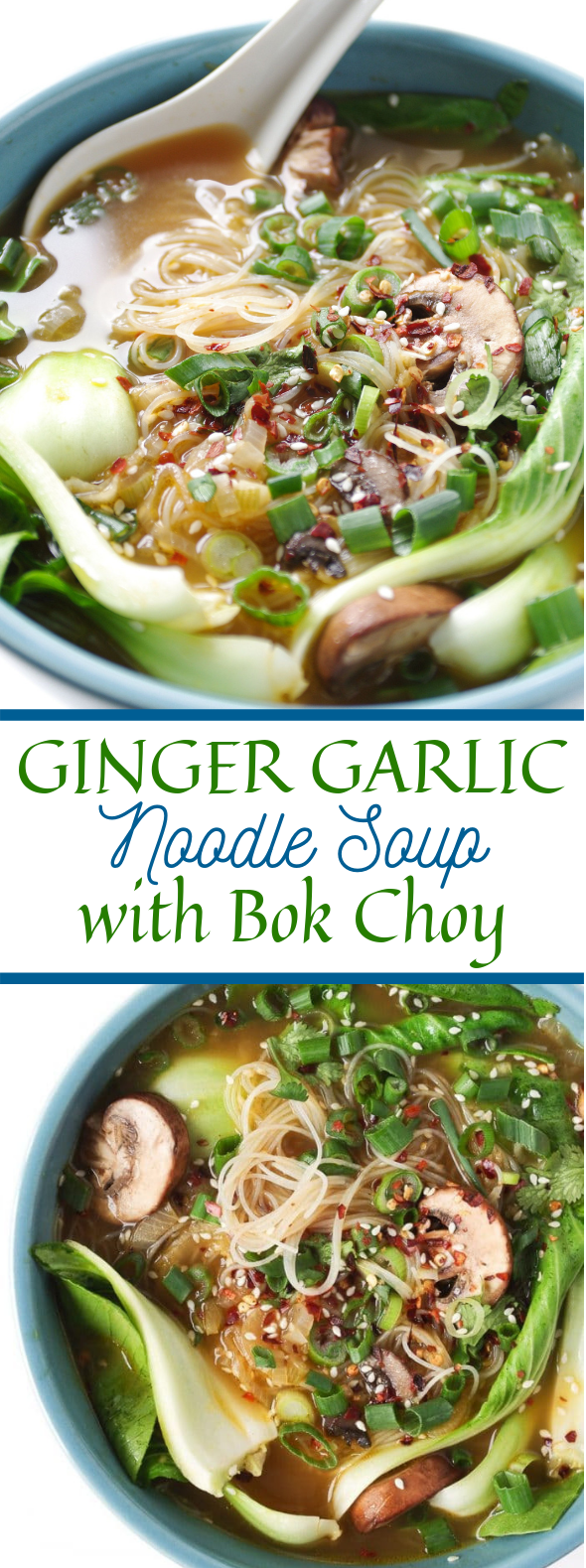 GINGER GARLIC NOODLE SOUP WITH BOK CHOY (BOK CHOY SOUP) #veggies #vegetarian