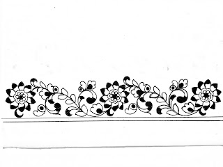 Simple Border Pencil Drawing/sari border design patterns/saree border design Drawing with pencil