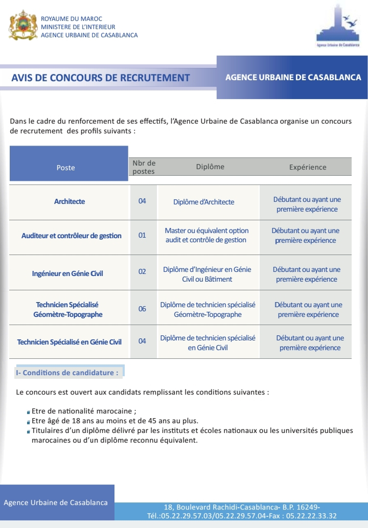 الوكالة الحضرية للدارالبيضاء: مباريات توظيف 10 تقنيين متخصصين و 06 مهندسين و 01 مدقق و مراقب آخر أجل هو 20 يونيو 2021