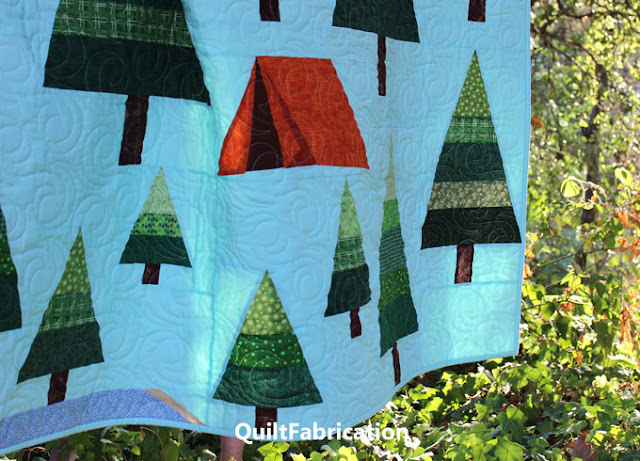 small lake at the bottom corner of The Great Outdoors quilt by QuiltFabrication