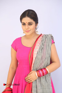 Actress Poorna Pictures in Red Salwar Kameez at Jayammu Nischayammu Raa Teaser Launch  0010