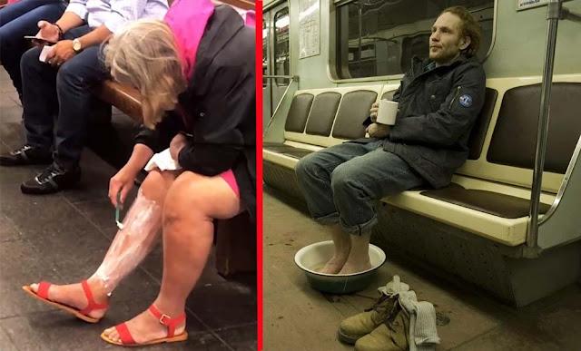 Фотографии пассажиров, сделанные в метро: они забыли, что не дома