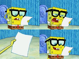 Polosan meme spongebob dan patrick 12 - spongebob membaca kertas surat