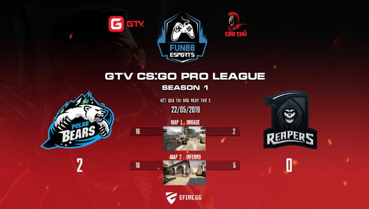 [CS:GO] GTV CS:GO Pro League Season 1 ngày thi đấu thứ ba: Chiến thắng dễ dàng giành cho Polar Bears