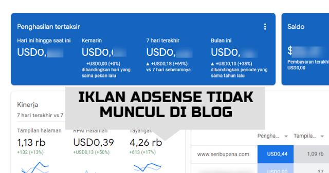 Iklan Adsense tidak Muncul di Blog
