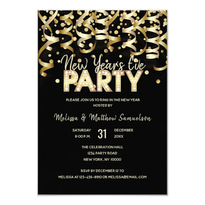 Gold Streamers New Year's Eve Party Invitation