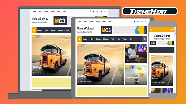 Minima Colored 3 Premium Blogger Template Free Download by ThemeHint