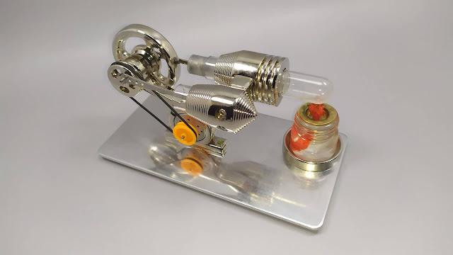 فتح علبة و مراجعة محرك ستيرلينغ صغير من الفولاد المقاوم للصدأ  Stirling Engine Motor