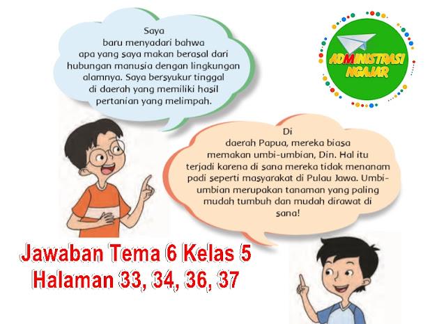 Kunci Jawaban Buku Tematik Tema 6 Kelas 5 Halaman 33 34 36 37 Administrasi Ngajar