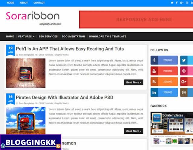 8. Sora Ribbon Blogger Theme