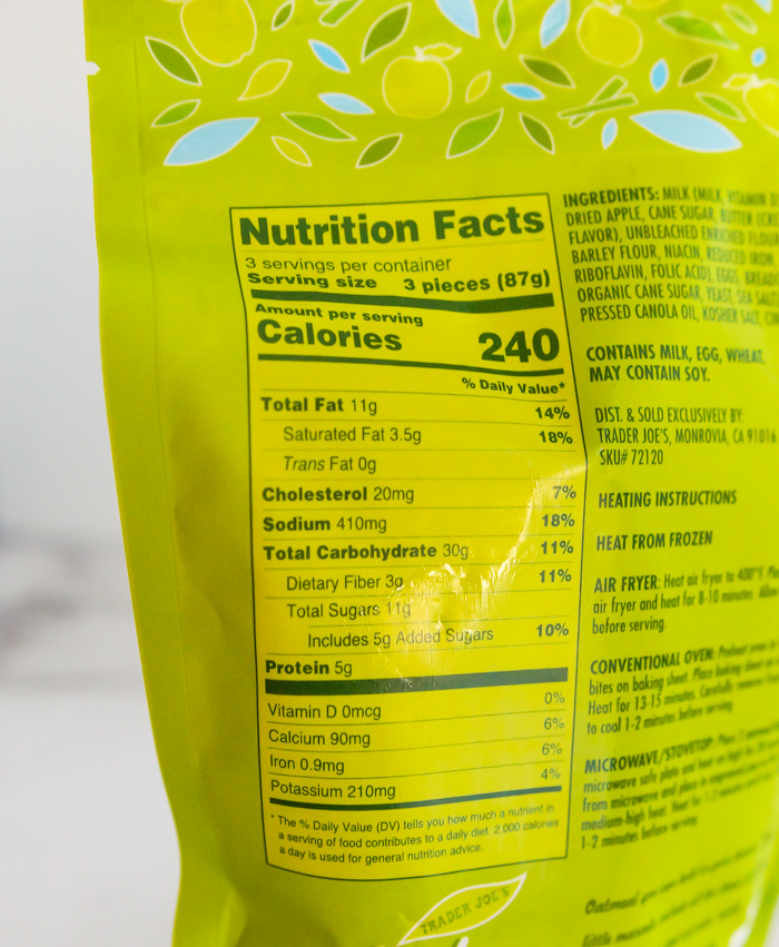 Trader Joe's Apple Cinnamon Oatmeal Bites nutrition info