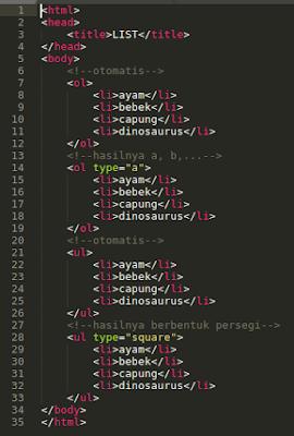 cara membuat list pada html dengan mudah jenis jenis list pada html ul ol type list tutorial pemrograman html belajar html dasar dasar html yang dipelajari