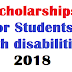 Scholarship for Students with disabilities 2019 starts at scholarships.gov.in