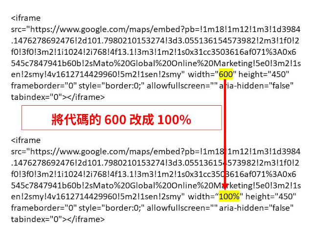 edit google map embed code become responsive