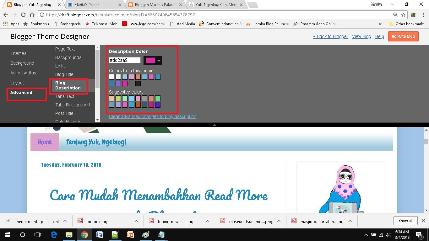 mendesain template blog sederhana pilih warna deskripsi blog