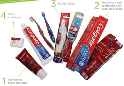 Acceptable items for toothbrush recycling