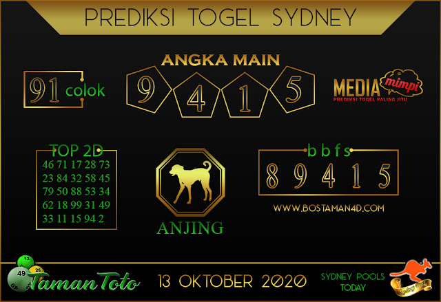 Prediksi Togel SYDNEY TAMAN TOTO 13 OKTOBER 2020