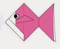 Bước 13: Vẽ mắt cho cá để hoàn thành cách xếp con cá vàng giấy.