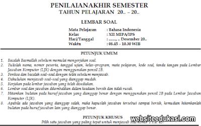 Soal Pas Bahasa Indonesia Kelas 12 K13 Tahun 2020 2021 Websiteedukasi Com