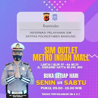 Jadwal SIM Outlet Metro Indah Mall Bandung