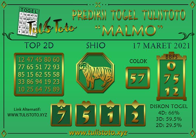 Prediksi Togel MALMO TULISTOTO 17 MARET 2021