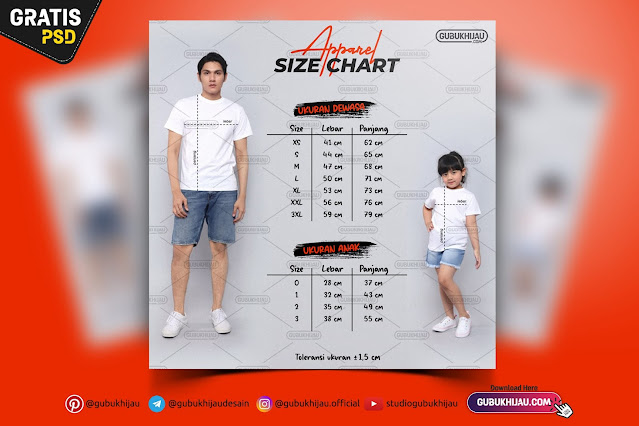 Desain Size Chart Apparel by gubukhijau