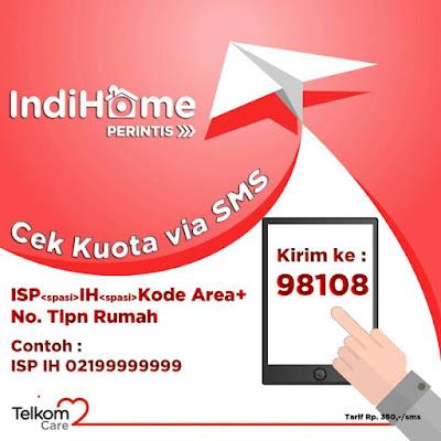 Cara Cek Pemakain Kuota Internet IndiHome melalui layanan sms