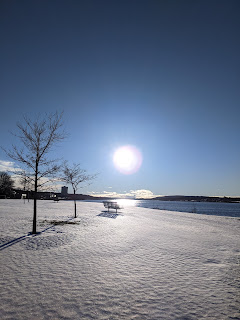 Bench Between Sun And Snow At Sydney Harbour, Cape Breton Island