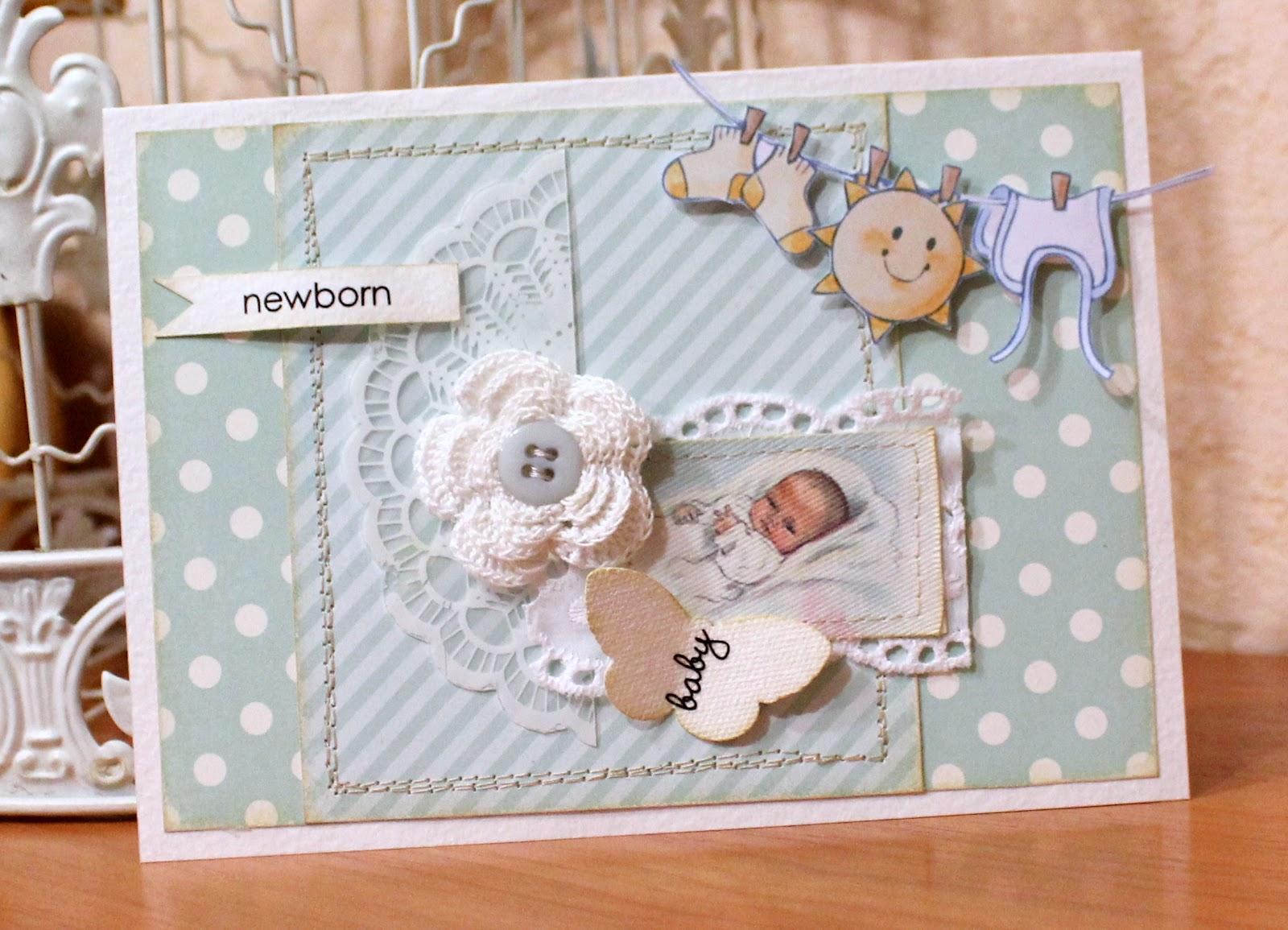 Открытка скрапбукинг новорожденному