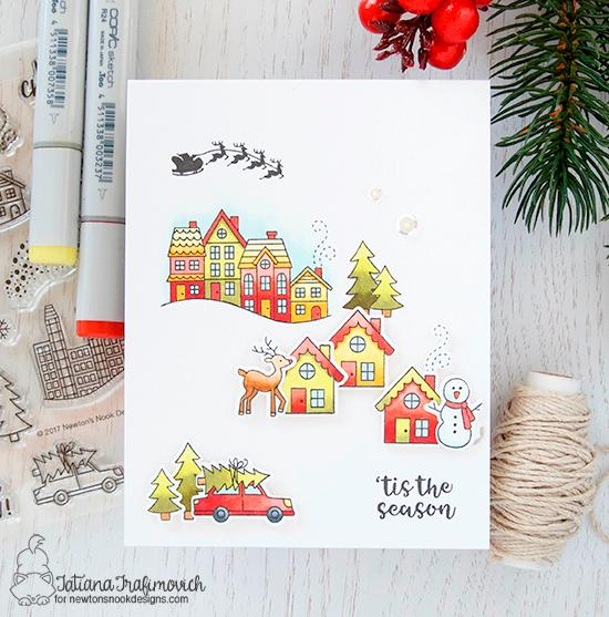 Christmas Village Card by Tatiana Trafimovich | Snow Globe Scenes Stamp Set by Newton's Nook Designs #newtonsnook