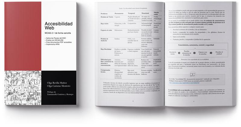 Portada del libro Accesibilidad Web y una página interior. Se observa una tabla y un gráfico.