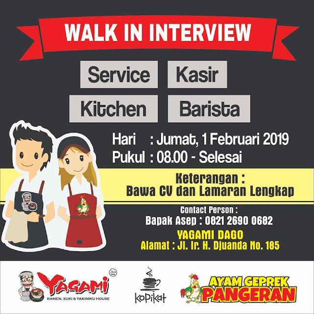 Walk In Interview Yagami, KopiKat dan Ayam Geprek Dago