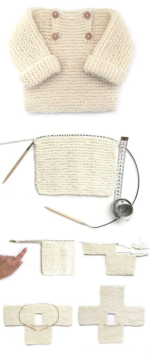 Garter Stitch Baby Sweater – EASY Pattern & Tutorial
