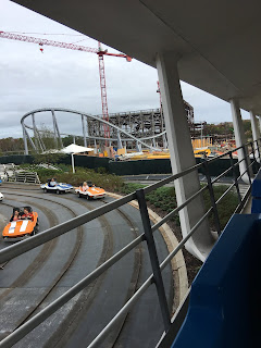 Tron Roller Coaster Construction From the Peoplemover