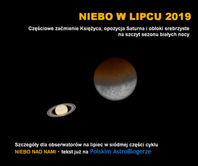 NIEBO NAD NAMI (7) - Lipiec 2019 - Zaćmienie Księżyca, opozycja Saturna i obłoki srebrzyste na szczyt sezonu białych nocy
