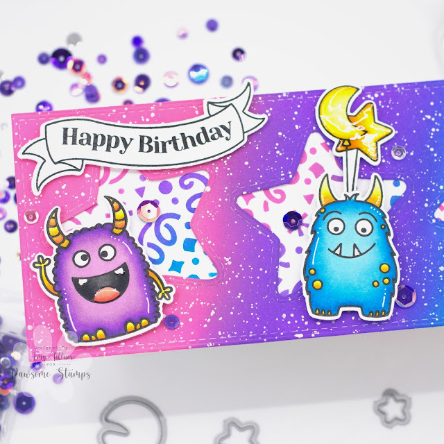 Monster Party Stamp and Die Set, Monster Mash Sequin Mix by Pawsome Stamps #pawsomestamps #handmade