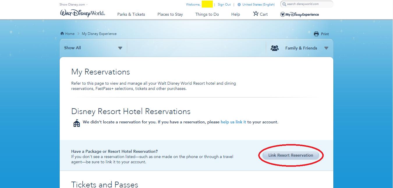 my disney experienceでホテル・チケットの予約内容をリンクしよう!